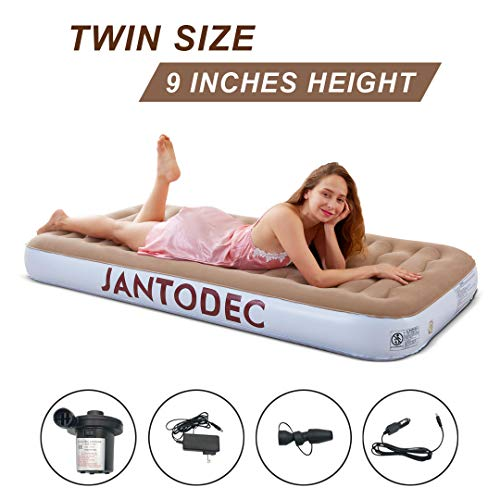 Camping Air Mattress with Electric Pump Inflatable Airbed Blow up Bed with Storage Bag DC/AC Adapter Air Bed for Office air Mattress for Kid (Brown-Twin Size)