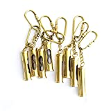 S.S. Collectibles Gold Antique Metal Security Guard Whistle Brass Keychain.