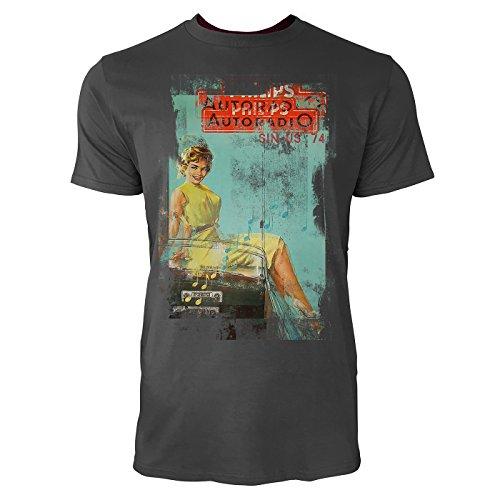 Autoradio Herren T-Shirts stilvolles Rauch graues Fun Shirt mit tollen Aufdruck