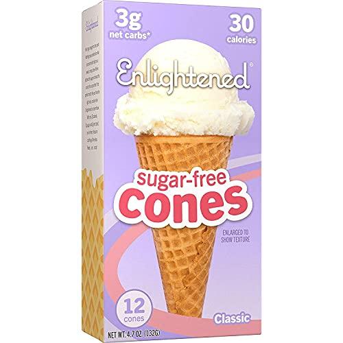 ENLIGHTENED ICE CREAM Sugar-Free Ice Cream Cones - Vegan Friendly, Sugar Free, Dairy Free - Low Calorie (30 Calories) - Low Carb (Net 3g) - 1 Pack of 12 Cones