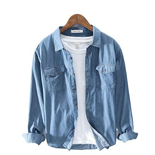 Camisa Vaquera para Hombre Chaqueta Moda Solapa Sencillez Casual Costura Lavada Dos Bolsillos Regular Fit Camisas de Manga Larga
