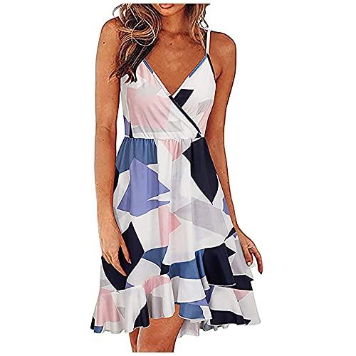 Liably Vestido sexy para mujer, sin mangas, cuello en V, estilo bohemio, elegante, suelto, holgado, ligero, moderno, multicolor, para la playa, corto plata M