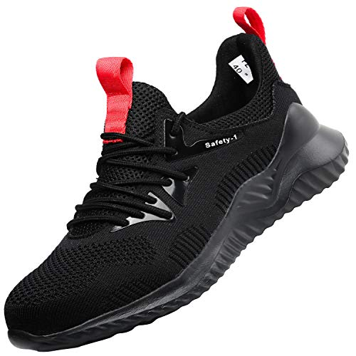 UCAYALI Zapatos de Seguridad Hombre Trabajo Ligeros Antiestaticos ESD Flexibles Calzados de Proteccion Safetoe Comodos Ligeras Zapatillas de Seguridad de Trabajo Anti Deslizante(026 Negro, 45 EU/275)