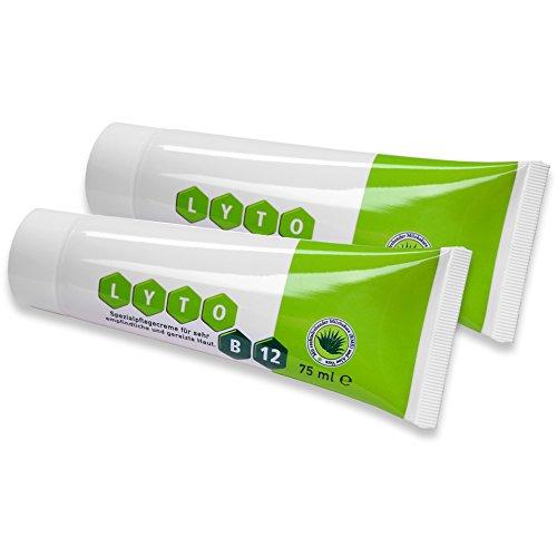 Lyto B12 - 2 tubos de crema especial para el cuidado de la piel con vitamina B12 y agua grandera, sin cortisona
