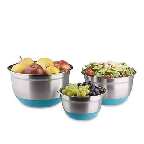 Relaxdays Bol mélangeur lot de 3 saladiers de différentes tailles en inox fond antidérapant en silicone, bleu