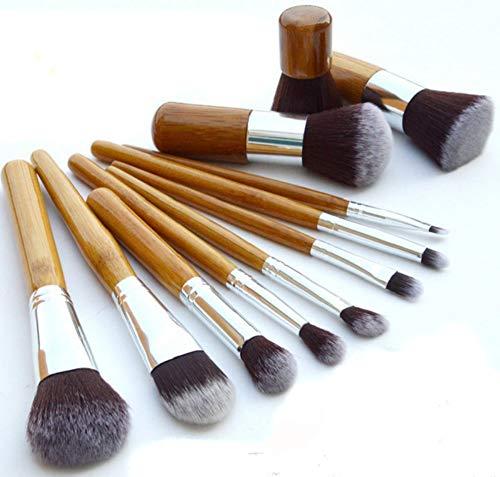 Maquillage Pinceau Contour Pinceau 11 Manche En Bambou Maquillage Pinceau Maquillage Portable Pinceau De Maquillage Outil De Toile De Jute Pinceau Paquet