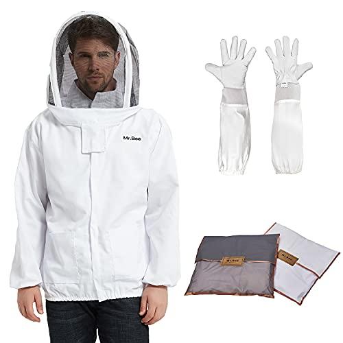 Mr.Bee - Traje de apicultura profesional, chaqueta con velo extraíble y capucha para apicultor de primera calidad