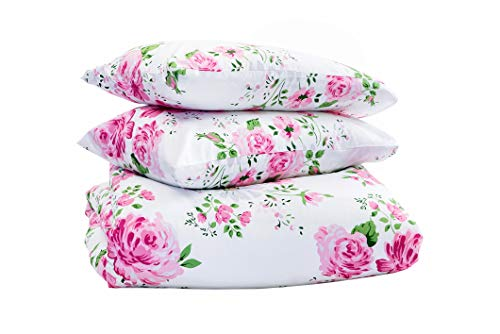 Marsala Home Duvet Cover Double Bed Pink Bedding Set 100% Cotton Blossom Floral Pink Roses Printed 3 Pieces with Pillowcases Quilt Cover Set (Lamus Flowers Double Size)