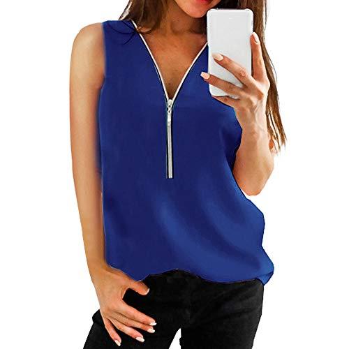 VEMOW Camisola Cremallera sin Mangas de Las Mujeres Chaleco Ocasional Top Blusa de Las señoras del Verano Flojo Camisetas