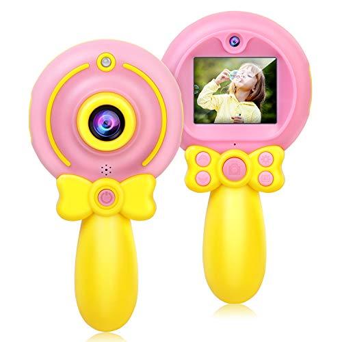 Micoke Macchina Fotografica Bambini, 8MP 1080 HD Bambini Fotocamera Digitale Portatile Doppia Fotocamera Selfie Videocamera - Bacchetta Magica Rosa