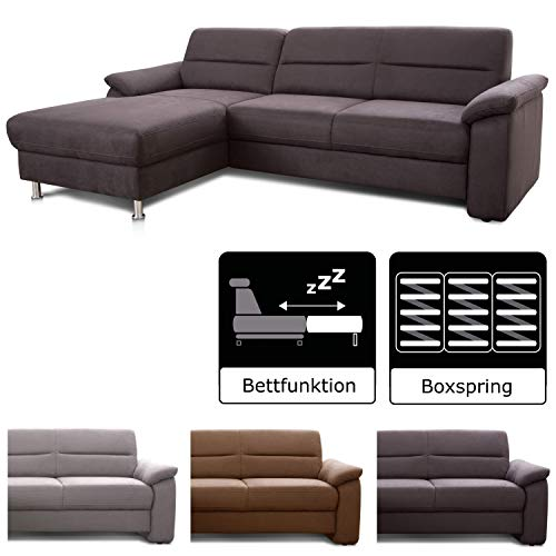 Cavadore Ecksofa Ascaro mit Longchair links, Boxspring-Sofa mit Bettfunktion im modernen Design, 254 x 84 x 171, Lederoptik Anthrazit