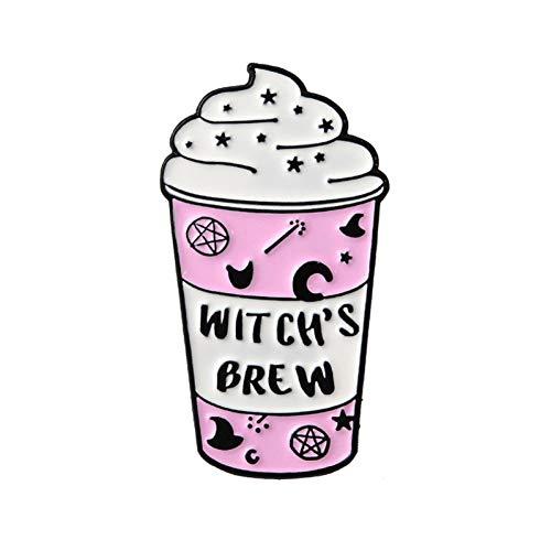 JTXZD Brosche Cup-Sammlung! Mini Cartoon Icecream Float Kaffeebecher Witch 's Brew Milk Box Broschen Hexe Anstecknadeln Wicca Witchcraft