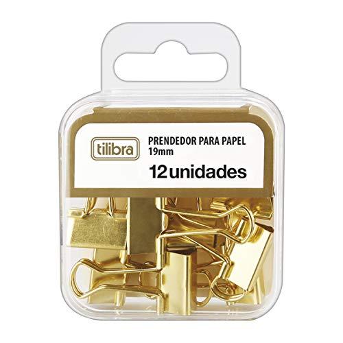 Prendedor para Papel 19mm, Tilibra, 178250, Dourado, 12 Unidades
