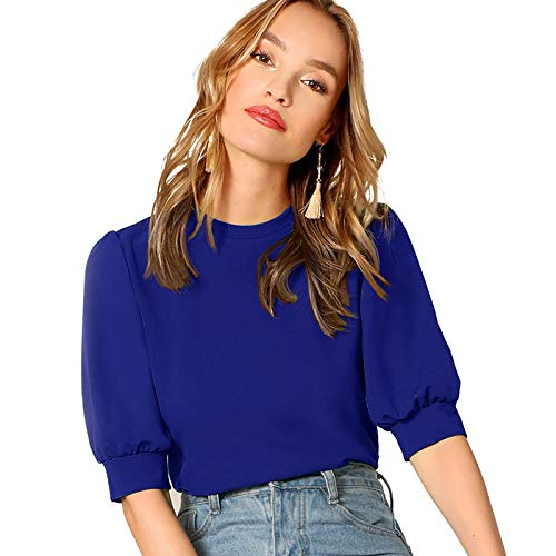 SheIn Women's Puff Sleeve Casual Solid Top Pullover Keyhole Back Blouse Blue Medium