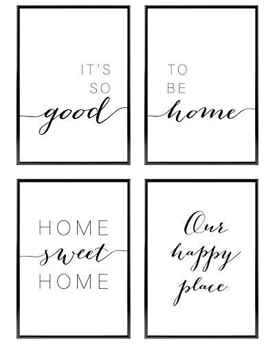 Heimlich ® Premium Poster Set   OHNE Bilderrahmen   Stilvolles Set mit passenden Bilder in Schwarz-Weiß   4 Stück in DIN A4 (21x30cm)   Ohne Bilderrahmen » Home «