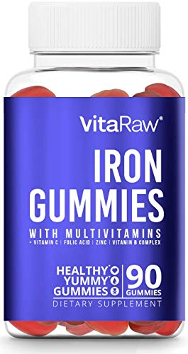 Iron Supplement Gummy Vitamins for Women, Men & Kids [ Immune Support ] Iron Gummies Include Multivitamin + B complex, Vitamin C, A, Biotin & Zinc - Increases hemoglobin & helps with anemia - 90 Count