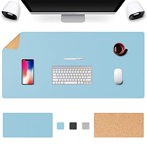 """Office Desk Pad,Natural Cork & PU Leather Dual Side Large Mouse Pad, Laptop Desk Table Protector Writing Mat, Smooth Surface Mouse Pad, Waterproof Desk Mat for Office/Home/Gaming 36"""" x 17"""""""