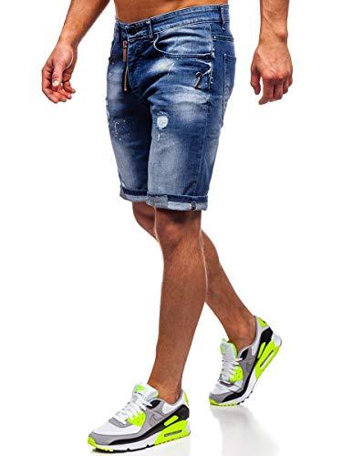 BOLF Herren Jeans Shorts Denim Shorts Kurze Hosen Bermudas Sporthose Freizeithose Clubwear Sportswear Casual Style RWX 3008 Dunkelblau 36 [7G7]