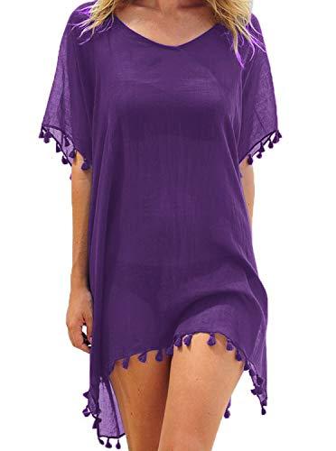 Adreamly Women's Chiffon Bathing Suit Swimwear Tassel Beach Cover Up Free Size Purple