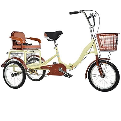 Triciclo para Adultos, Bicicleta De Crucero De Playa, Bicicleta De Tres Ruedas con Tenedor De Suspensión, Cesta De Almacenamiento, Pasajeros Y Triciclo De Carga, Adecuado para Los Ancianos