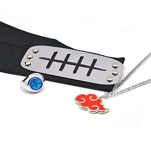 cluis 3 stücke Anime Naruto Shippuden Einstellbare Metall Blatt Dorf Stirnband Ninja Uchiha Sasuke Kakashi Cosplay Set Ring Halskette(Pain, Anti-Amegakure)