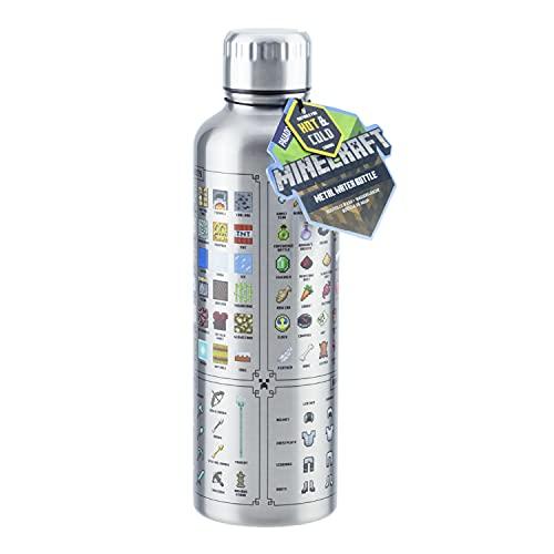 Paladone Botella de agua de metal Minecraft