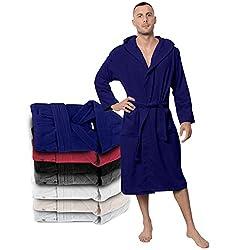 Bathrobe Men - 100% Turkish Cotton - No Chemicals, Hood, 2 Pockets, Belt, Soft, Absorbent