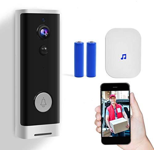 Video TüRklingel 1080p HD-Video mit Batterien Wifi Funk Gegensprechfunktion PIR Bewegungsmelder Echtzeit-Gespräch und Vide, App-Steuerung für iOS und Android-White and Black
