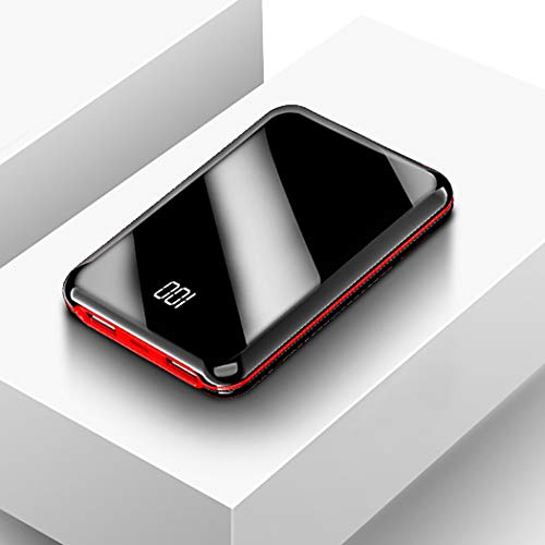 RAPLANC Cargador portátil, una de Las baterías externas más pequeñas y livianas de 10000Mah, ultracompacto, tecnología Power Bank para iPhone, Samsung Galaxy y más,Rojo