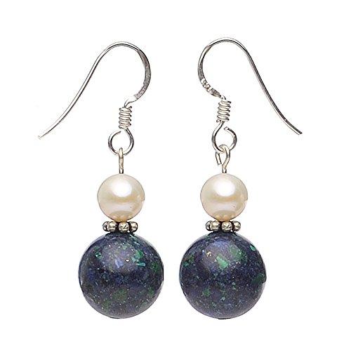 Ohrringe Ohrhänger aus Azurit-Malachit & Perlen 925 Silber blau-grün Damen