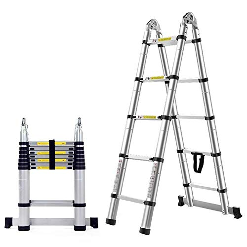 Telescopische Ladder Aluminium Folding Extendable Extension Ladder A-Frame Multi Purpose (Load Capacity 150kg) (Maat: 10.17ft / 6,2 = 3,1 m + 3,1 m) 8bayfa (Size : 7.22ft/4.4m=2.2m+2.2m)