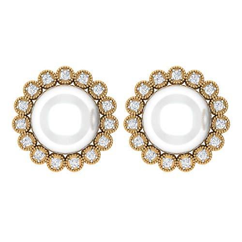 Pendiente de perlas de agua dulce, pendiente de boda vintage, anillo de halo de diamantes HI-SI, 8 CT 8 mm de agua dulce, pendiente milgrain antiguo, pendiente de declaración de cuentas, torni