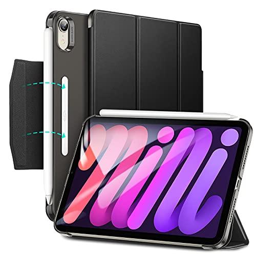 ESR Trifold Hülle kompatibel mit iPad Mini 6 Generation 2021, Trifold Ständer mit Schließe, Auto Ruhe-/Wachmodus, unterstützt Pencil 2 Pairing & Laden, Schwarz