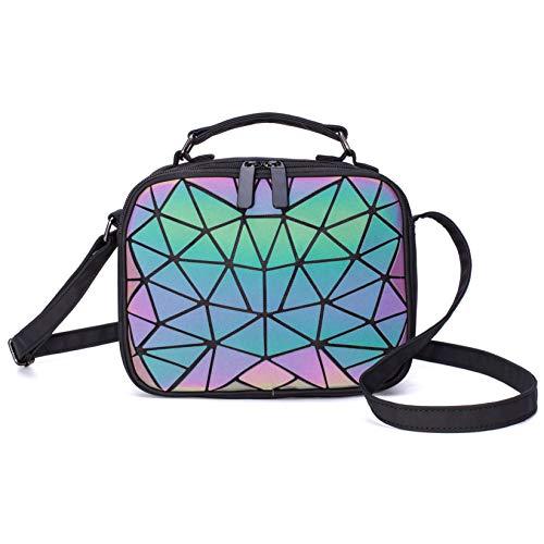 Geometrische holografische Umhängetaschen und Handtaschen für Damen, leuchtende Umhängetasche mit hohem Tragegriff Blitz Reflektierend Umhängetasche Kupplung Hologramm-Umhängetasche mit Scherbe Gitter