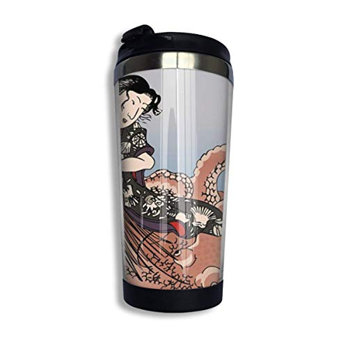 yushan Taza de viaje con diseño vintage japonés de Geisha Fighting Octopus para coche, té helado o botella de agua aislada de acero inoxidable