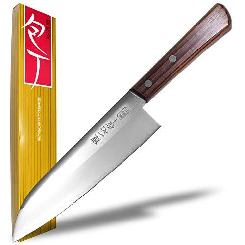 Seki Japan KANETSUGU Japanese Utility Chef Kitchen Knife, AUS8 SUS410 Stainless Steel Santoku Knife, Rose Wood Handle, 170 mm (6.7 in)