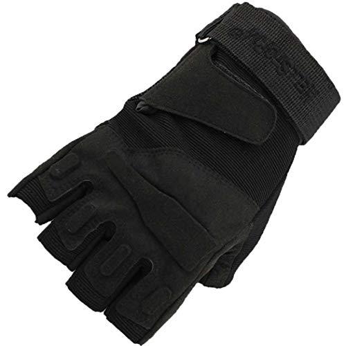 MISS&YG Black Hawk Halb-Finger-Taktische Handschuhe/Army Fan Outdoor Field Game Halbhandschuhe Parkour Running Handschuhe,Black,XL