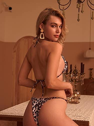 NBgy Bikinis para Mujer Traje de baño de Bikini triángulo ligado en Cadena Leopardo (Color : Multicolor, Size : XL)