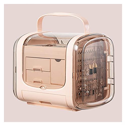 TEAYASON Enorme caja de joyería para mujer con mango portátil Clear Abbs Jewelry Display Stand 3-Layer Cajones Joyero regalo (rosa, blanco), rosa