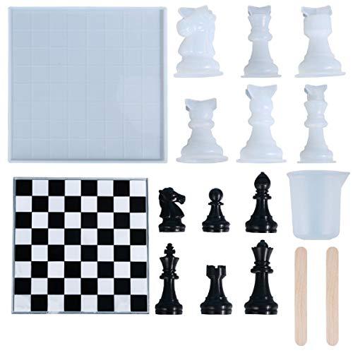 Yalulu - 7 moldes de silicona para moldear resina, diseño de ajedrez, resina de epoxi