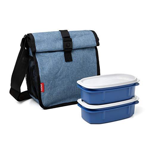 TATAY Urban Food Roll&Go Denim Blue - Bolsa térmica porta alimentos enrollable con 2 tápers herméticos incluidos, 4.2 l, tela, color tejano con tapers a juego, 22 x 11 x 22.5 cm