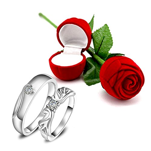Peora Valentine's Day Gift Hamper of Couple Ring with Red Rose Gift Box for Boyfriend/Girlfriend/Gift for Valentine/Gift for Him