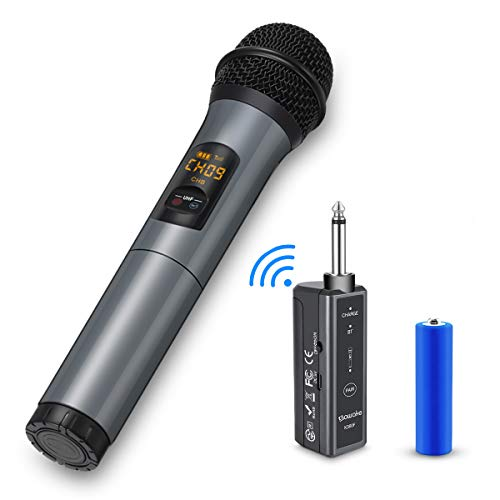 Wireless Microphone, 10 Channel UHF Wireless Bluetooth Microphone System, Dynamic Handheld Cordless Mic with Rechargeable Receiver for Karaoke/Singing/Church/Speech (100ft Range, Work 10hrs)