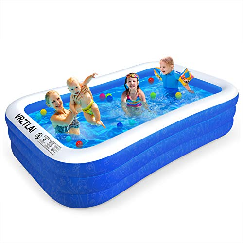 VRZTLAI Family Inflatable Swimming Pool, 118' X 72' X 22' Inflatable Lounge Pool for Kiddie, Kids,...