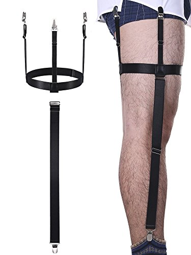 2 Piezas Tirante de Camisa de Hombres Liga de Camisa Desmontable Elástica Ajustable con Clips Antideslizantes para Traje, Vestido o Uniforme (Negro)