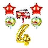 Djujiabh Globos 16inch de Coches Transporte Hoja hincha Tanque del camión Baoles 30inch Regalos de la Fiesta de cumpleaños for niños Número Decoración (Color : Fire Set 4)