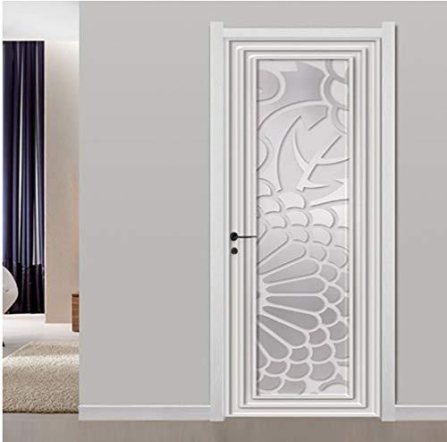 Door stickers door decals, Self-Adhesive Door Sticker 3D Stereo White Plaster Line Mural Living Room Bedroom Creative Art Door Poster Waterproof Decals