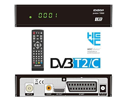 EDISION proton T265 LED DVB-T2 HD H.265 HEVC Full HD Hybrid FTA Receiver HDTV DVB-T2/DVB-C (DISPLAY, HDMI, SCART, S/PDIF, USB 2.0)