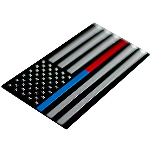 Aluminum Thin Blue/Red Line Decal Sticker Emblem | In Support of Police Officers and Firefighters