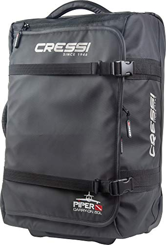 Cressi Piper Bag Trolley de Viaje Ultraligero, Unisex-Adult, Black, 50 L